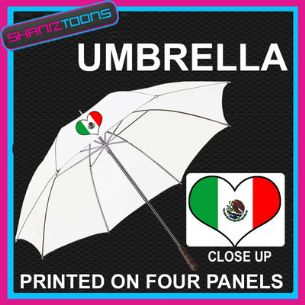 "MEXICO MEXICIAN LOVE HEART FLAG WHITE 30"" UMBRELLA LONG HANDLE"